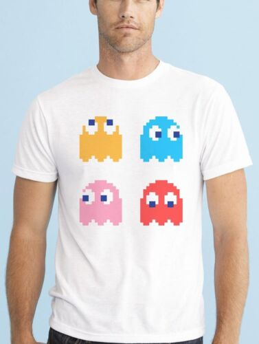 PIXEL PAC MAN COLOUR GHOSTS RETRO GAME LOVERS T SHIRT