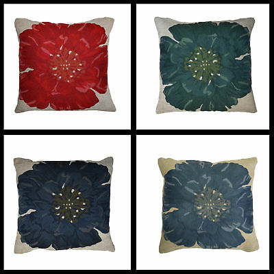 """New  Poppy Flower Cushion Covers 4 Colours 18/"""" x 18/"""" or 45cm x 45cm"""