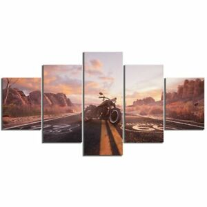 Route 66 Motorcycle Vehicle 5 piece HD Poster Art Wall Home Decor Canvas Print