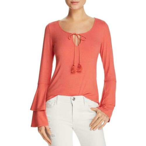 Band of Gypsies Womens Orange Ribbed Bell Sleeves Blouse Top M BHFO 5795