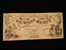 "#ORIGINAL 1800's VICTORIAN Reward of Merit Floral Schoolhouse 6.25 x 2.75"""