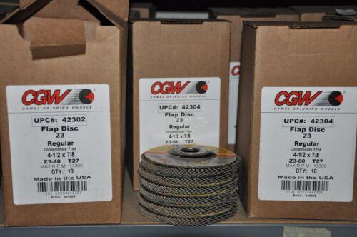 "80 grit hub T29 Box of 10 CGW 42375 100/% zirconia 4 1//2/"" XL flap disc"