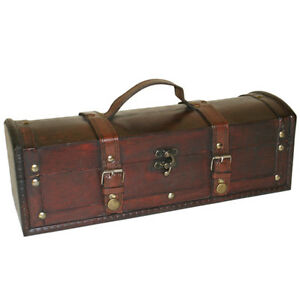 Vintage-Style-Wine-Trunk-Leather-amp-Wood-Bottle-Box-Shabby-Chic-Storage