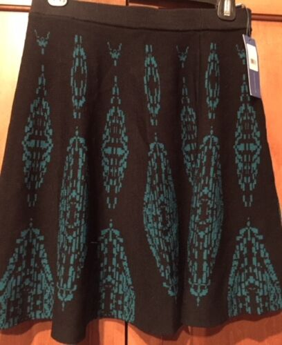Minkoff Knit Skirt Teal Black Gwyneth Print Blue 198 Rebecca Nwt Bqw717