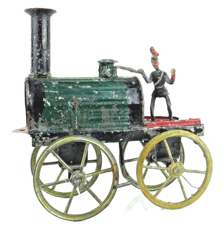 Vintage Raro década de 1860 Estaño piso Tren Loco con conductor