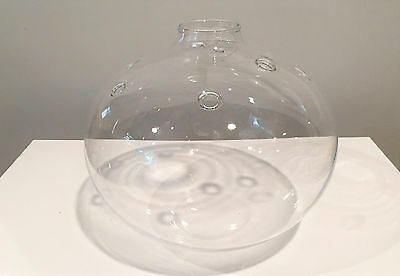 Large Holmegaard Denmark Glass Bubble Vase by Michael Bang Signed