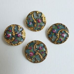 Boutons-anciens-Email-Basse-Taille-15-mm-XIXe-Basse-Taille-Enamel-Buttons