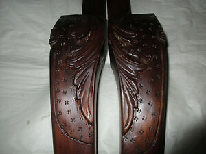 """Two Antique Queen Ann Table Legs, Claw Foot, Intricate Design Brown 29.5"""""""