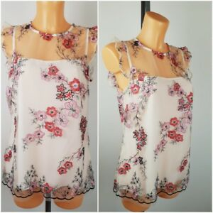 NEW-Ex-F-amp-F-Ladies-Cream-Floral-Embroidered-Lace-Top-Size-6-20