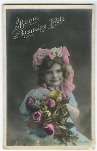 c 1907 French Child Children CUTE BONNET GIRL kids tinted photo postcard