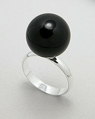 Solid Sterling Silver 14mm Big Black Onyx Ball Bead Solitaire Ring Size 9 5.70g