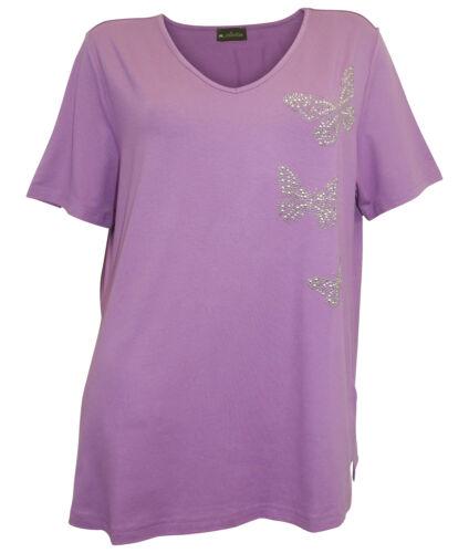M Collection Shirt 42 44 46 48 50 54 56 58 60 62 lilla misure grandi farfalle