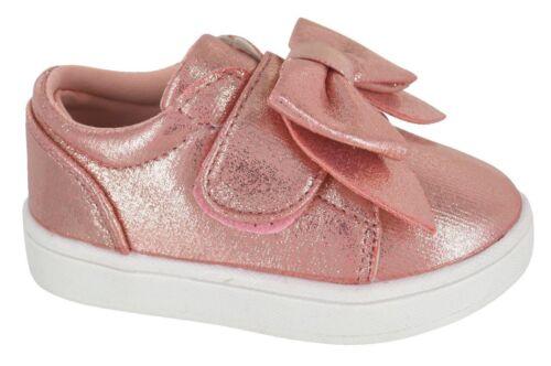 New Kids Girls Infants Children Bow Skater Pumps Plimsolls Trainers Shoes