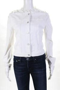Elie Tahari Womens Denim Beaded Esperanza Jacket White Size Small