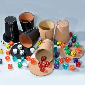 5-Wuerfelbecher-Knobelbecher-Natur-Leder-mit-5-Pads-und-30-Wuerfel-Spiele-Frobis