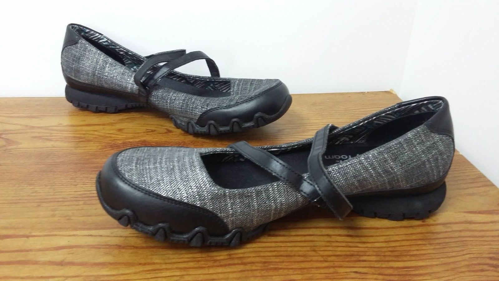 New Mary Womens Skechers Biker Ethereal Mary New Janes Style 48951 Black/Silver 109T 51b4cb