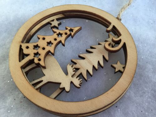 Wooden Silhouette Picture Wood Christmas Tree Decoration Gisela Graham Reindeer