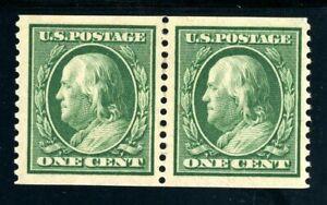 USAstamps-Unused-VF-US-1909-Franklin-Coil-Pair-Scott-352-OG-MLH-3mm-spacing
