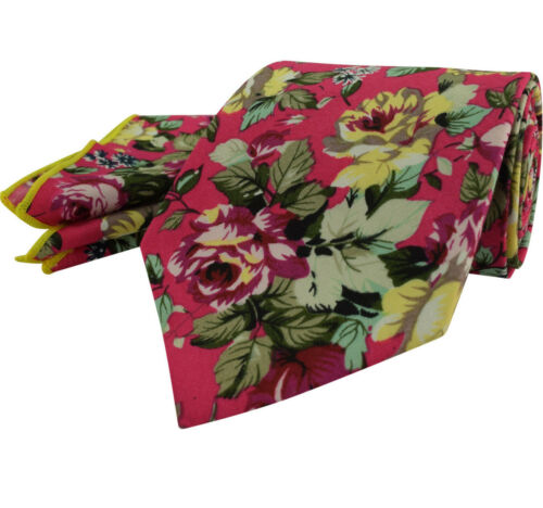Cotton Floral Rose Tie Blue Pink Red Green Yellow Pocket Hanky Set