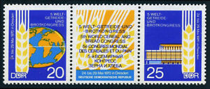 Germany-DDR-GDR-1206-1207a-pair-MNH-5th-World-Cereal-and-Bread-Congress-1970