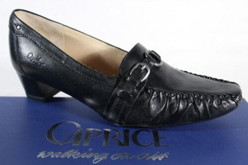 Caprice Zapatos De Tacón Mocasines mocasínes Cuero Auténtico Negro NUEVO