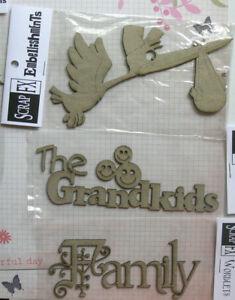 CHIPBOARD-Die-Cut-3-Styles-FAMILY-The-Grandkids-Stork-Scrap-FX-Choice-B
