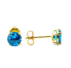 14K YELLOW GOLD BLUE AQUAMARINE ROUND SHAPE STUD PUSH BACK EARRINGS All Sizes