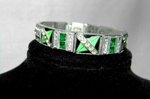 VINTAGE SIGNED ALLCO ART DECO ICY GREEN EMERALD RH