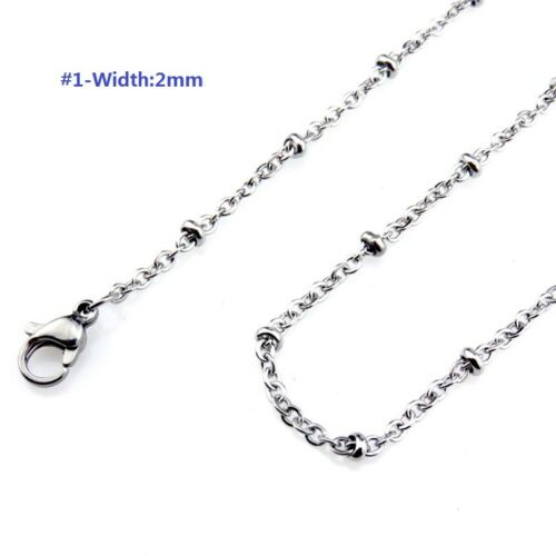 """Rolo Link Box Snake Rope Curb Chain 18//20/"""" Width Stainless Steel Necklace"""