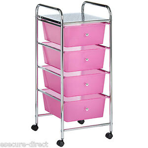 VonHaus-Pink-4-Drawer-Make-Up-Mobile-Home-Office-Beauty-Salon-Storage-Trolley