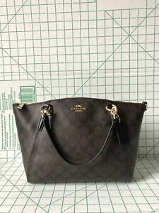 Image is loading Coach-F28989-Signature-Small-Kelsey-light-weight-Satchel- 29d1028b6ec69