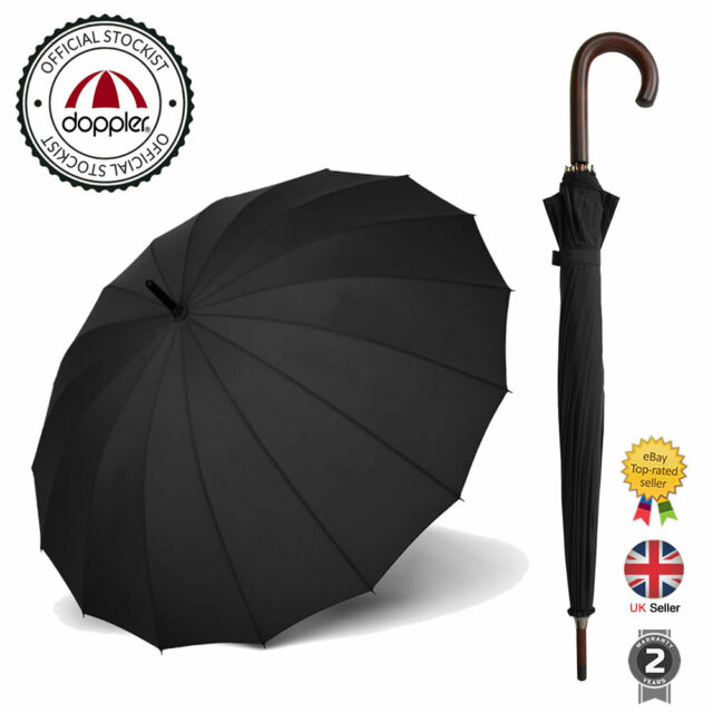 Stunning Classic Ribbed Plain Style Long Stick Umbrellas Black by Doppler
