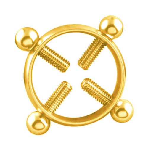 1Pc Round Non-Piercing Nipple Ring Shield Body Piercing Jewelry Screw I