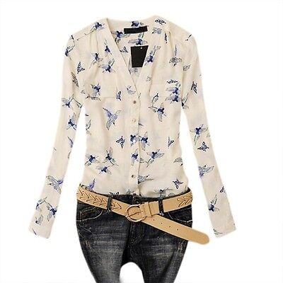 Women's Button Shirt V-Neck Long Sleeve Chiffon Flying Birds Blouse Slim Top M67