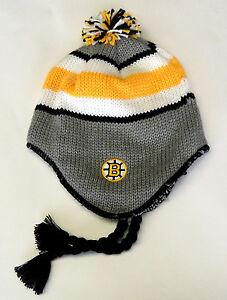 NWT-NHL-Boston-Bruins-Vintage-Braided-Pom-Knit-Hat-Aviator-Beanie-Cap-OSFA-NEW