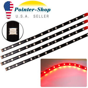 "4x 12""/30CM 5050 Red Flexible LED Light Strip for Car Motor Boat Waterproof 12V"