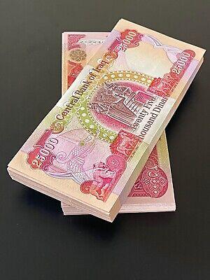 ACTIVE /& AUTHENTIC UNCIRCULATED 100,000 IRAQI DINAR 4 x 25,000 Notes CRISP