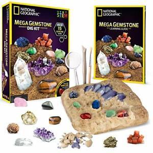 NATIONAL GEOGRAPHIC Mega Gemstone Dig Kit 15 Genuine Educational Learning Guide