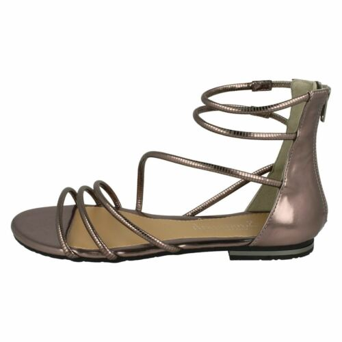 Savannah F0974 Ladies Zip Up Synthetic Patent Summer Gladiator Sandals