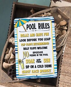 Details about Pool Rules No Speedos Metal Sign Home Decor - Swimming Pool  Sign - Lemonade Sign
