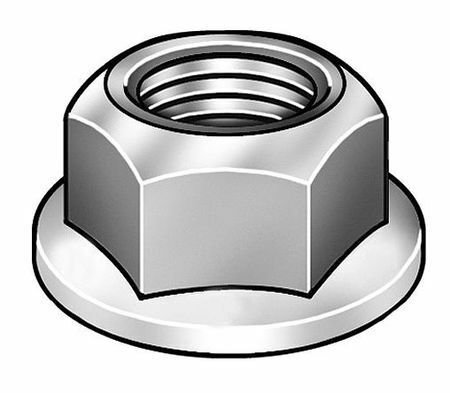 """ZORO SELECT 4CAN6 7//16/""""-20 Grade 2 Zinc Plated Finish Steel Serrated Flange"""
