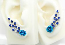 New Blue Rose Silver Ear Cuff Pins Trails up Lobe Earrings Wrap Pair Crystals