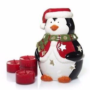 Yankee-Candle-Penguin-Luminary-Tealight-Holder-4-Red-Apple-Wreath-Tealights-New