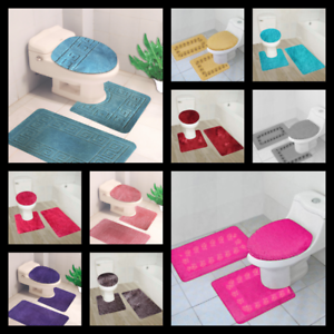 3PC-3-STYLES-BATHROOM-SET-CONTOUR-TOILET-LID-COVER-MATS-RUGS-Accessories