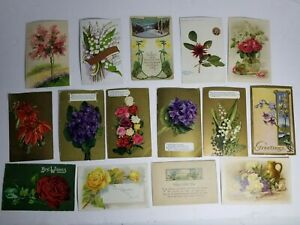Vintage-Post-Cards-Postcard-Lot-Early-1900-039-s-Post-Marked-Stamped-Flower