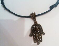 BLACK waxed cord bronzo mano Fatima LUCKY Evil Eye * KARMA * COLLANA / GIROCOLLO