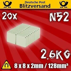 20x Neodym Magnet Quader 8x8x2mm N52  Pinnwandmagnete Bastelmagnete Notizmagnete