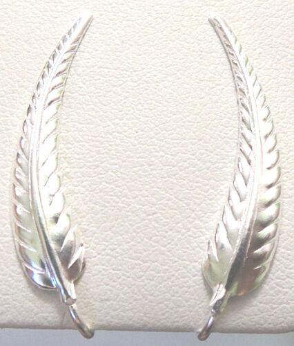 NEW925 Sterling Silver Crawler Earpin Climber Sweep Leaf Cuff Vine Earrings 1.3g