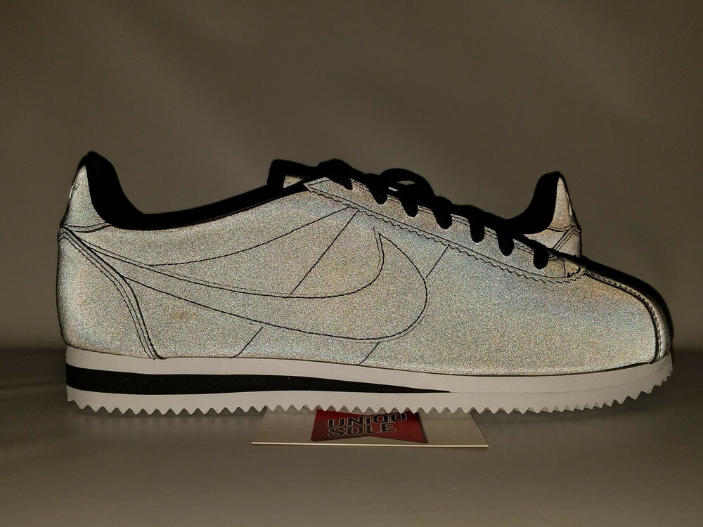 Nike Classic Cortez SE noir 3M REFLECTIVE blanc Gris 902801-100 8 forrest gump