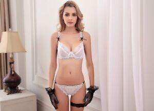 Goddess Womens Sexy Lace Transparent 3 4 Cup Bra Set Underwear Bra ... fb4472126
